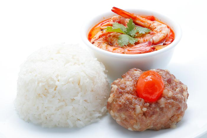 Rice w/ Steamed Pork w/ Salted Egg & Creamy Tom Yum Kung