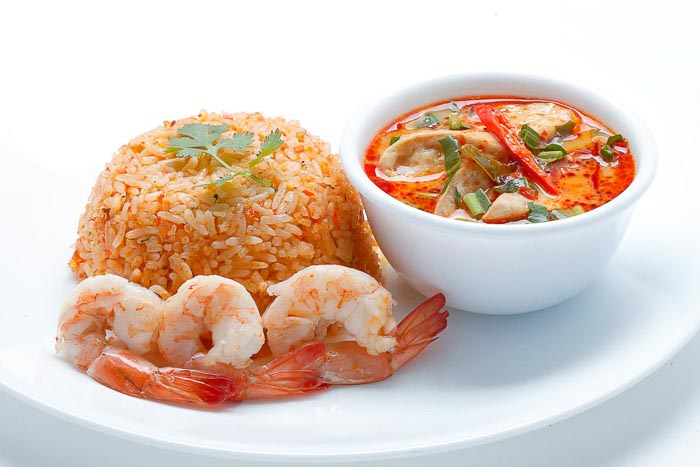 Shrimp Oil Fried Rice w/ Shrimp & Creamy Tom Yum Mushroom Soup