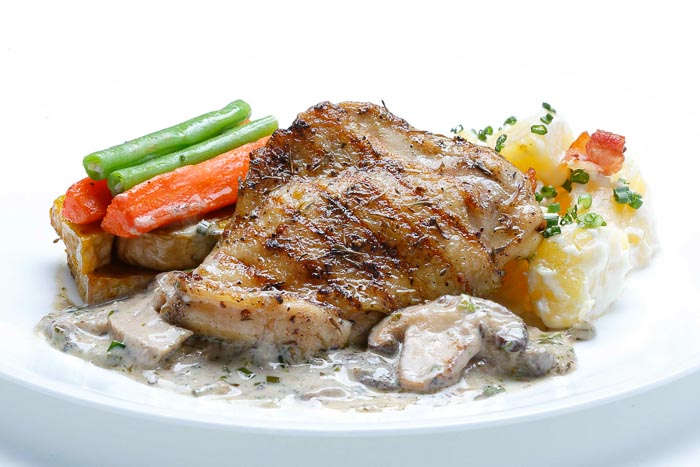 Roasted Chicken Mushroom Cream Sauce & Potato Salad & Grilled Veggies