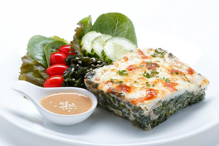 Baked Spinach w/ Cheese & Japanese Salad