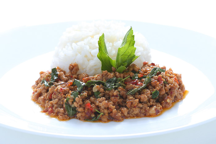 Rice w/ Stir Fried Spicy Basil Minced Pork